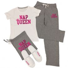 Nap Queen T-Shirt & Trousers Pyjamas Set Lazy Napping PJs + Add Slippers Option